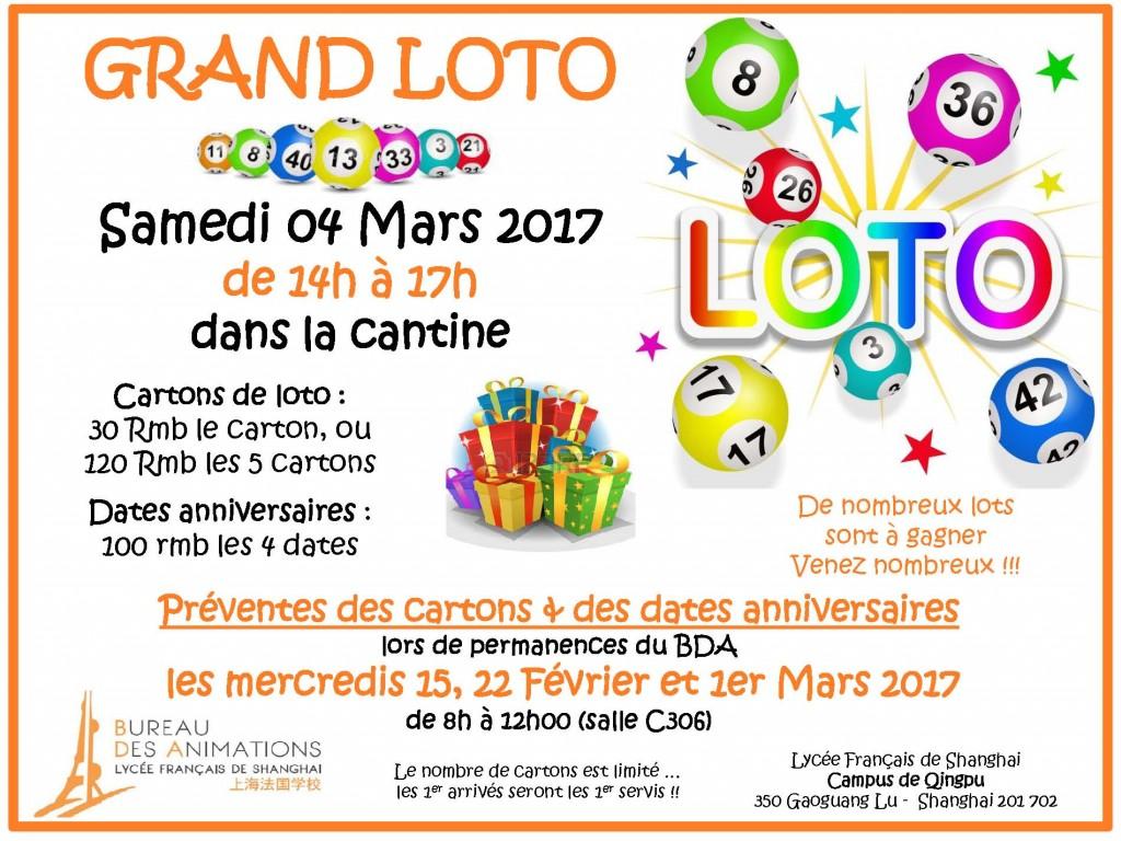 Affiche Loto BDA - Mars 2017