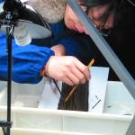 2- Archéologue nettoyant les lamelles de bambou excavées