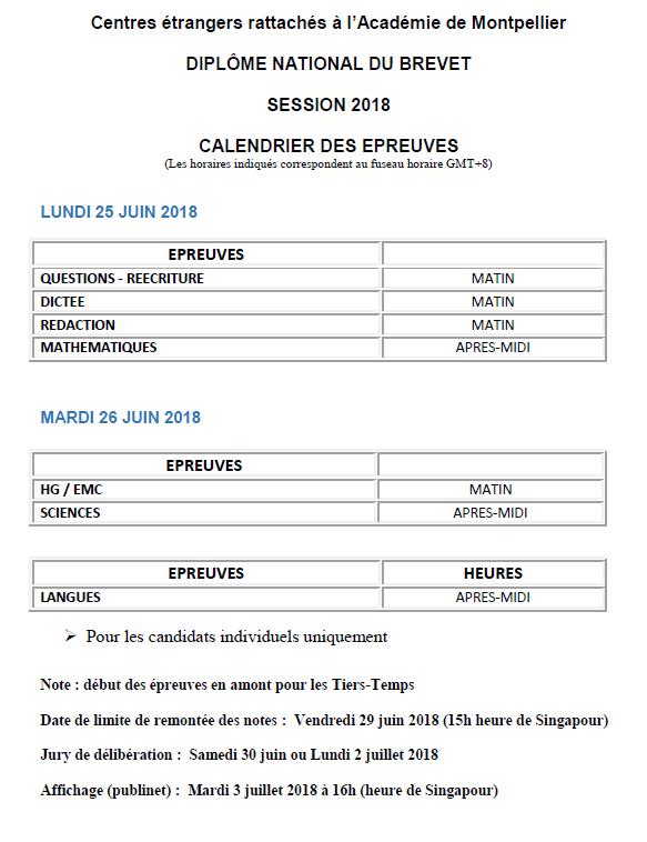 DNB calendrier