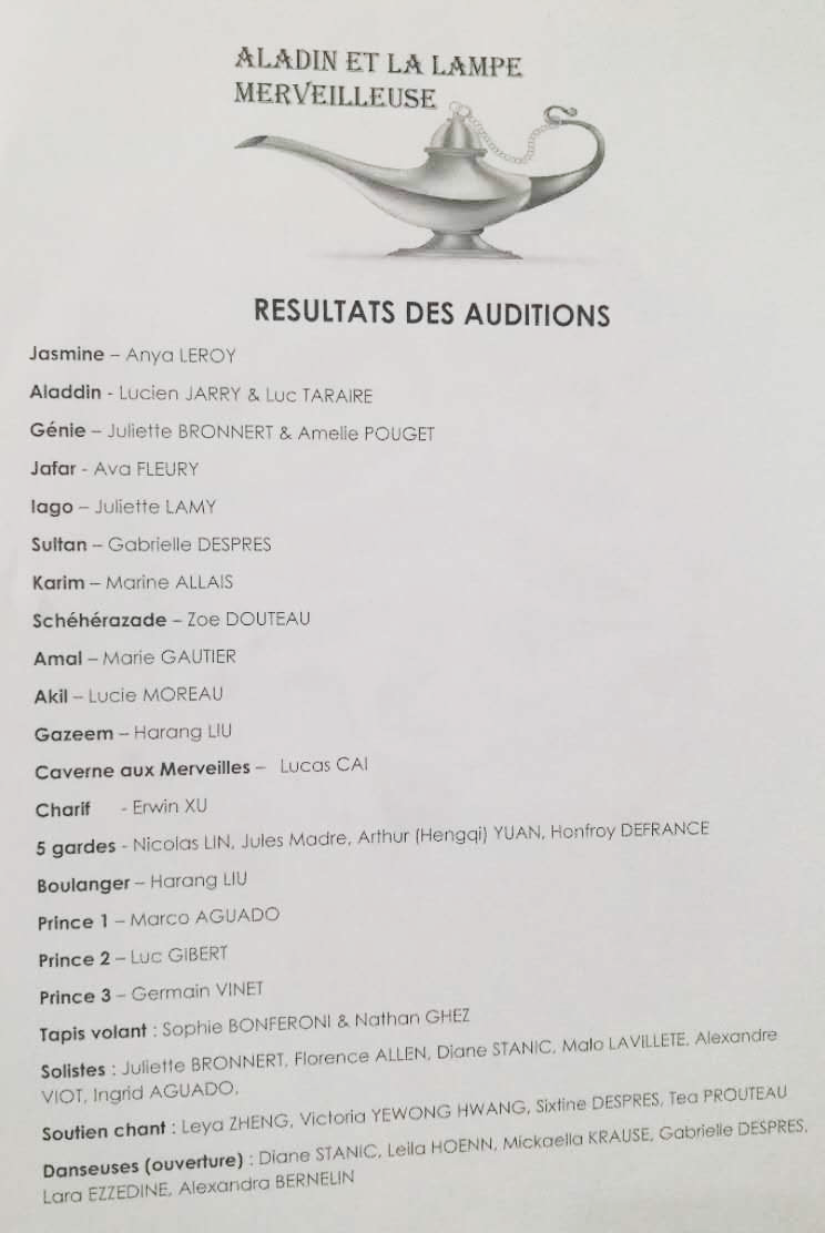 résultats audition aladain