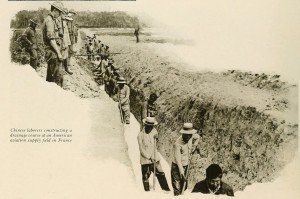 6- Chinese laborers constructing a drainage at an American aviation supply field in France in 1918. from Fighting America's fight,New York,1919